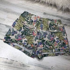 Mine shorts size small zippers tropical green